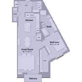 1,244 sq. ft. B4 floor plan
