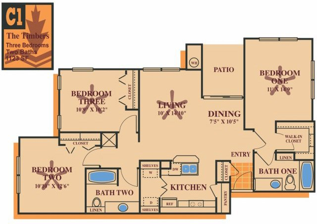 1,123 sq. ft. TIMBERS 60% floor plan