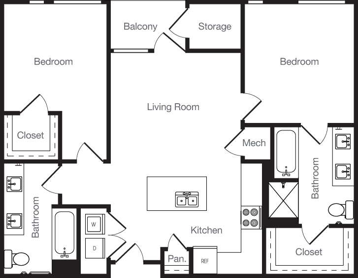 980 sq. ft. 2A floor plan