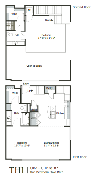 957 sq. ft. to 1,223 sq. ft. TH1 floor plan