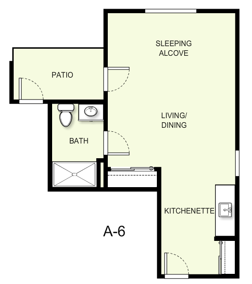 485 sq. ft. A6 floor plan