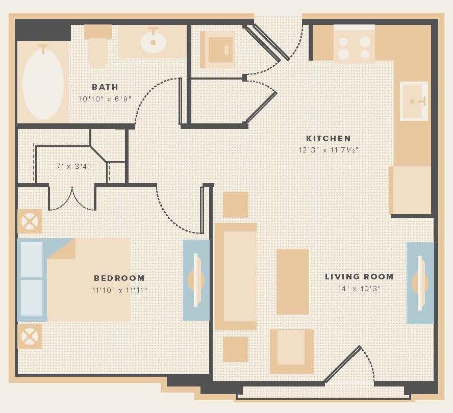 579 sq. ft. E3 floor plan