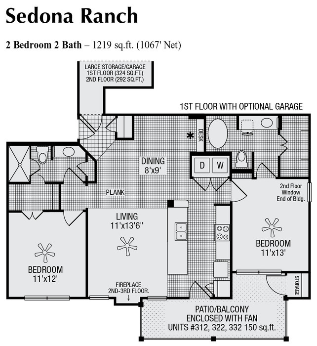1,067 sq. ft. to 1,219 sq. ft. floor plan