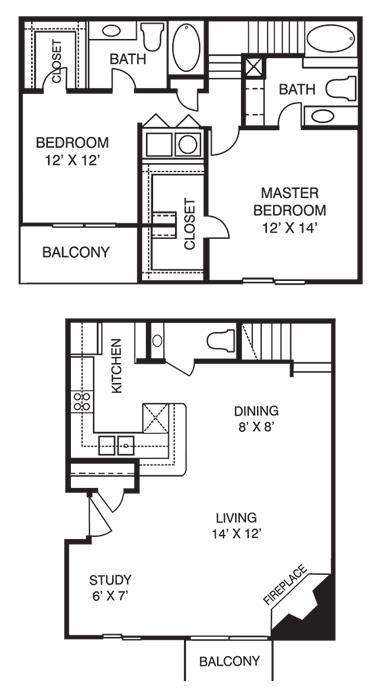 1,208 sq. ft. T2 floor plan