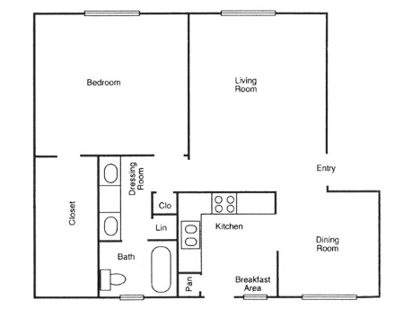 886 sq. ft. Maple floor plan