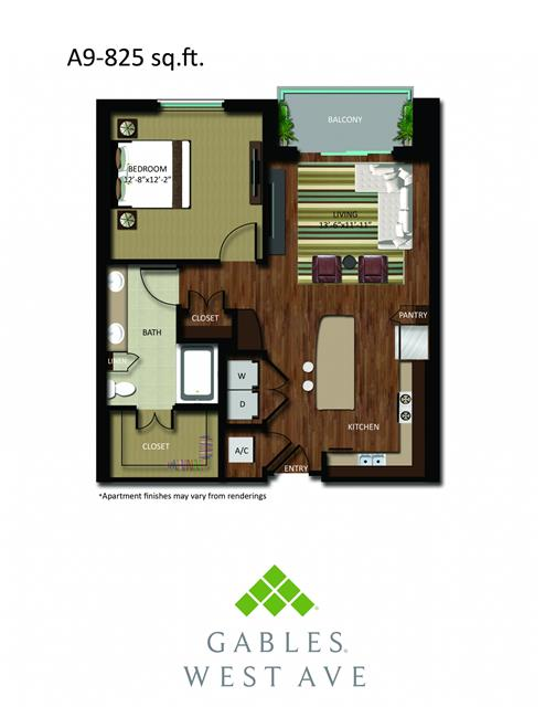 825 sq. ft. DA9 floor plan