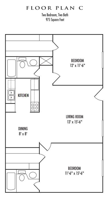 975 sq. ft. C1 floor plan