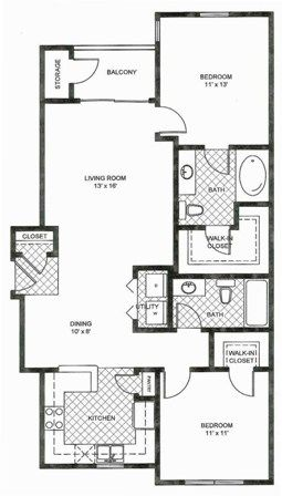 980 sq. ft. B1 floor plan