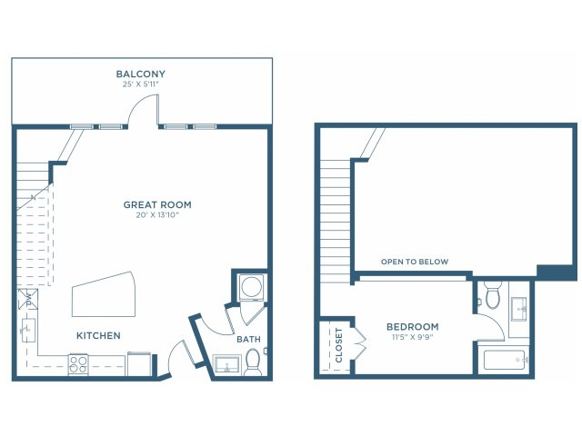 800 sq. ft. A10 floor plan