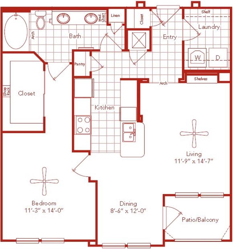 899 sq. ft. Macgregor floor plan
