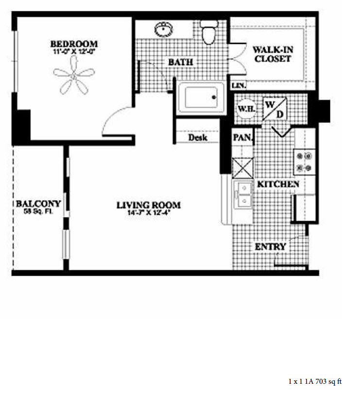 703 sq. ft. 1A floor plan