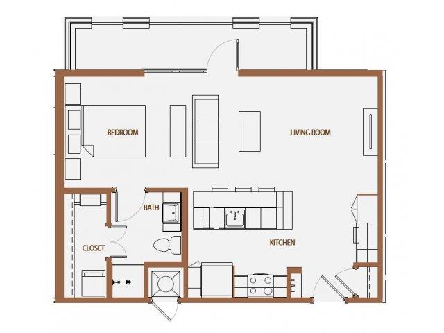 684 sq. ft. S2-3 floor plan