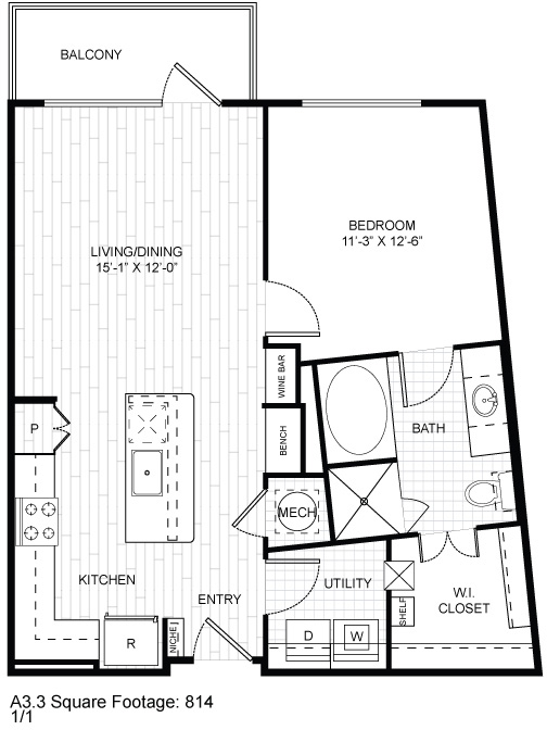 796 sq. ft. A1 Tel floor plan