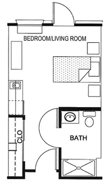 297 sq. ft. floor plan