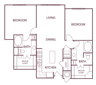 965 sq. ft. B1 floor plan