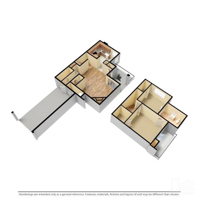 1,140 sq. ft. B1 floor plan