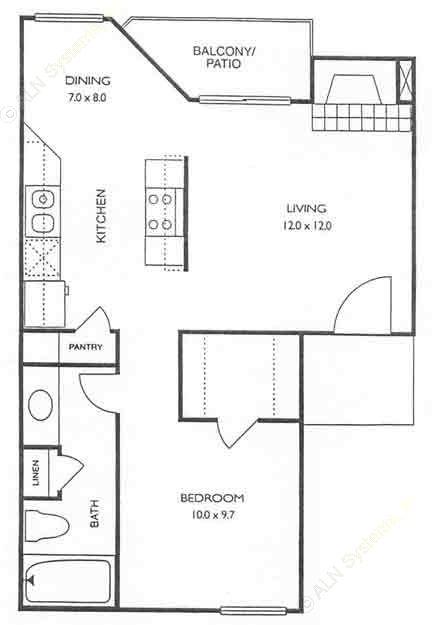 540 sq. ft. Bayview floor plan