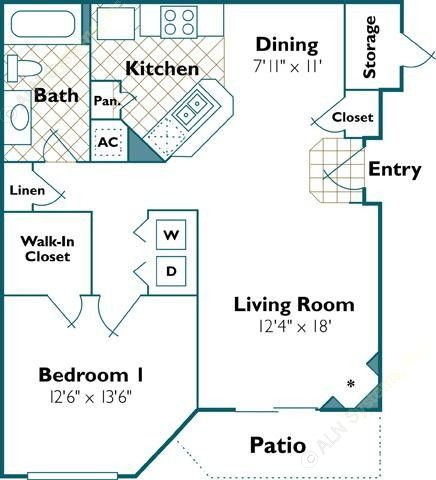 769 sq. ft. Heron floor plan