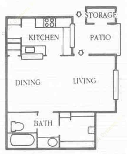528 sq. ft. E2 floor plan