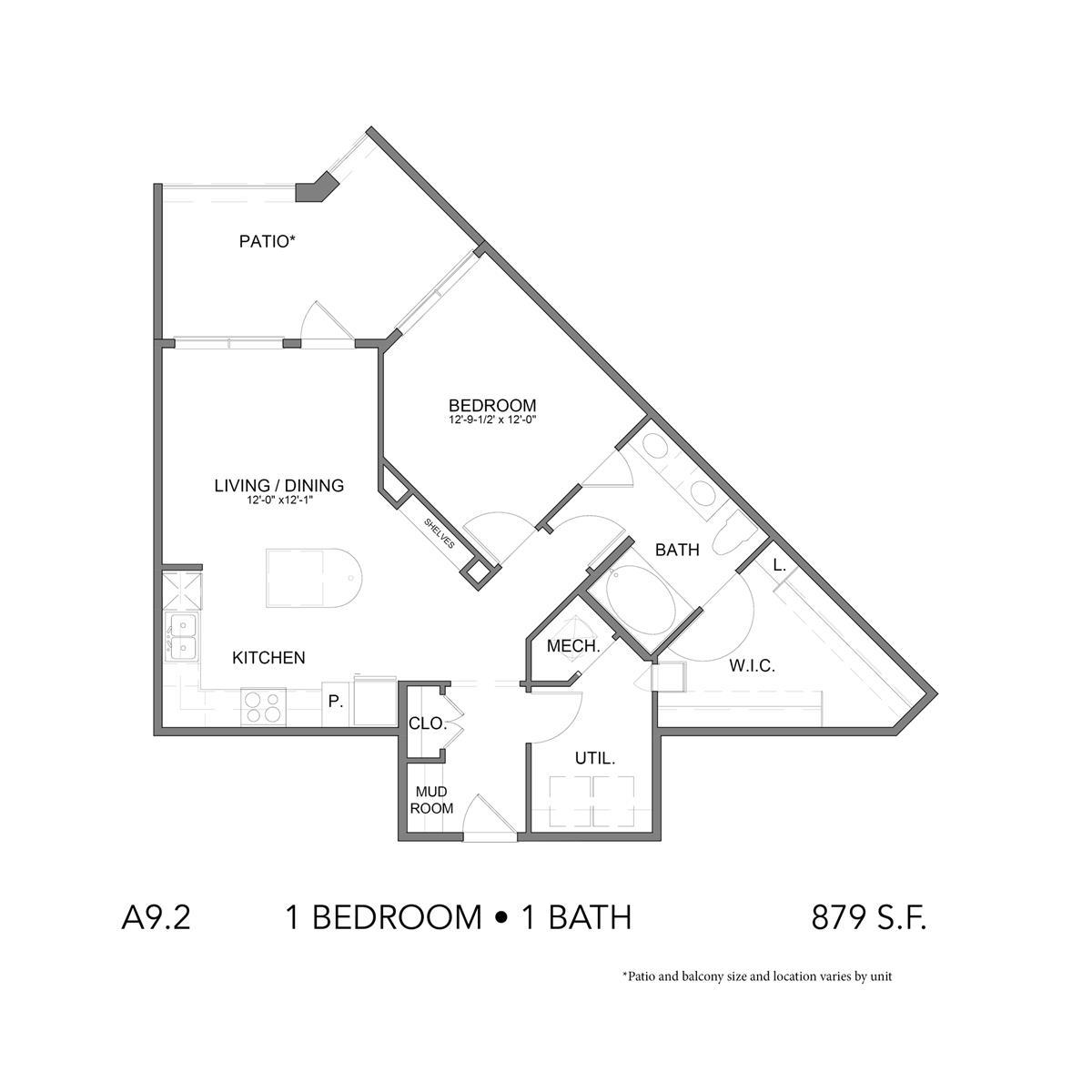 879 sq. ft. A9.2 floor plan