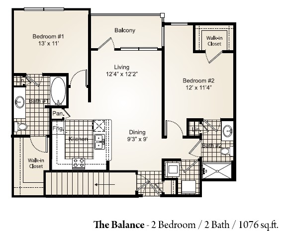 1,076 sq. ft. BALANCE floor plan
