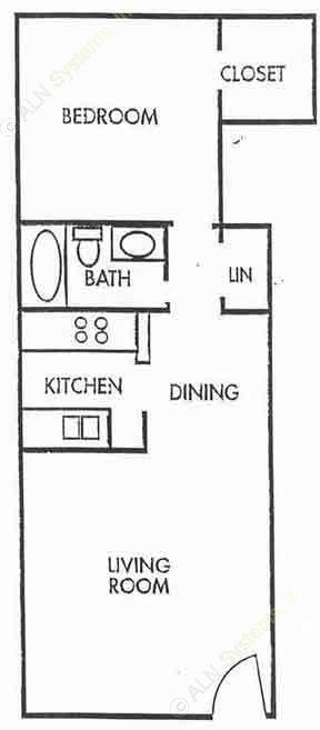 667 sq. ft. A2 floor plan