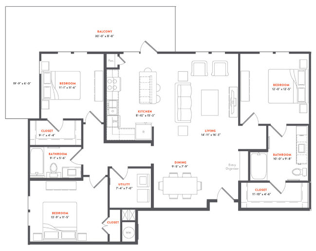 1,485 sq. ft. C1A floor plan