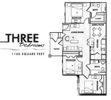 1,100 sq. ft. C/60% floor plan