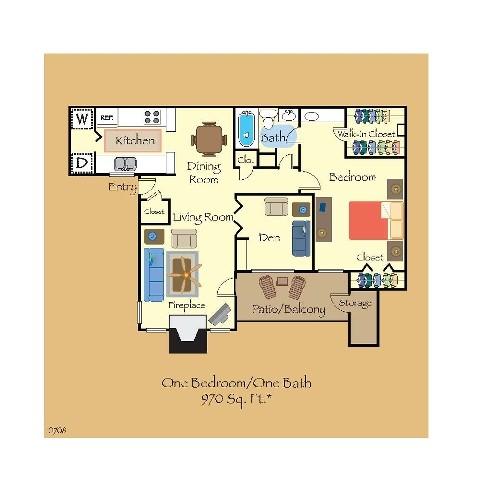 970 sq. ft. A3 floor plan