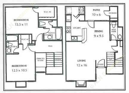 1,190 sq. ft. H Townhome floor plan