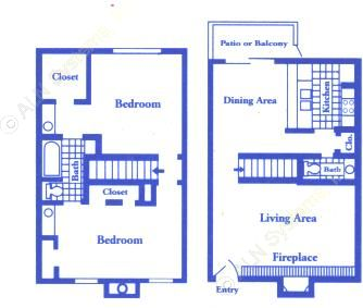 1,093 sq. ft. B3 floor plan