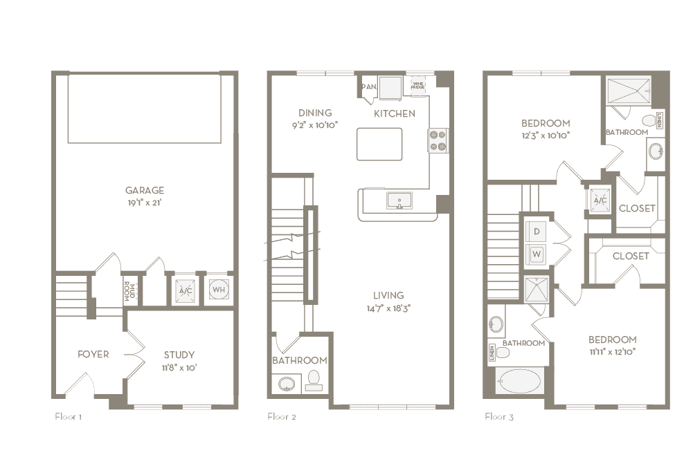 1,601 sq. ft. TH2 floor plan