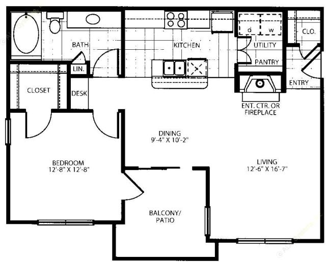 812 sq. ft. A2-G floor plan