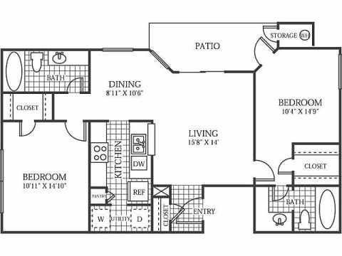 1,033 sq. ft. B3 floor plan