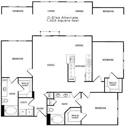 1,347 sq. ft. CE1S floor plan