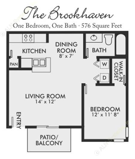 576 sq. ft. Brookhaven floor plan