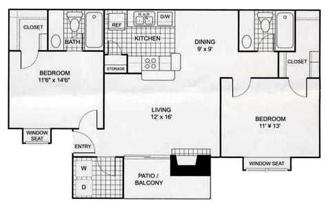 951 sq. ft. B2 floor plan