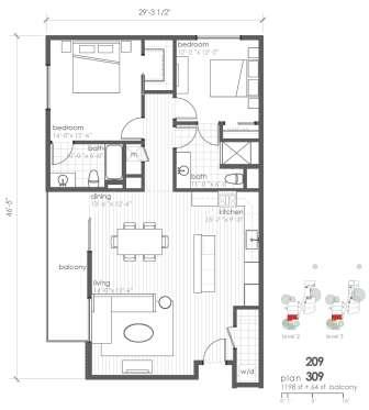1,198 sq. ft. B6 floor plan