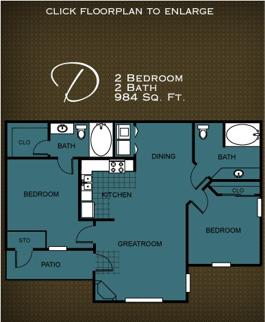 984 sq. ft. PLAN D floor plan