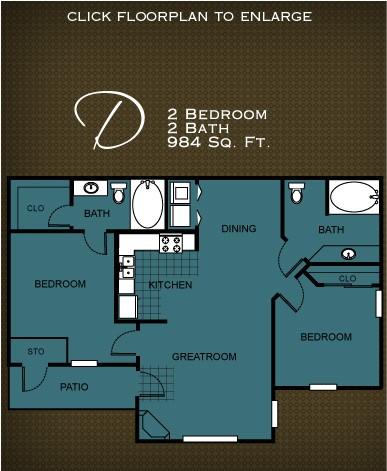 984 sq. ft. PLAN D floor plan