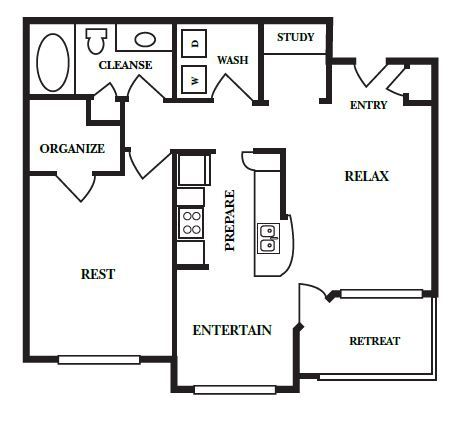 778 sq. ft. B floor plan