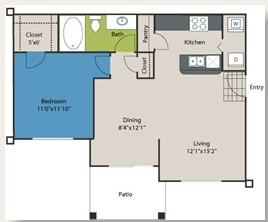 693 sq. ft. A2 floor plan
