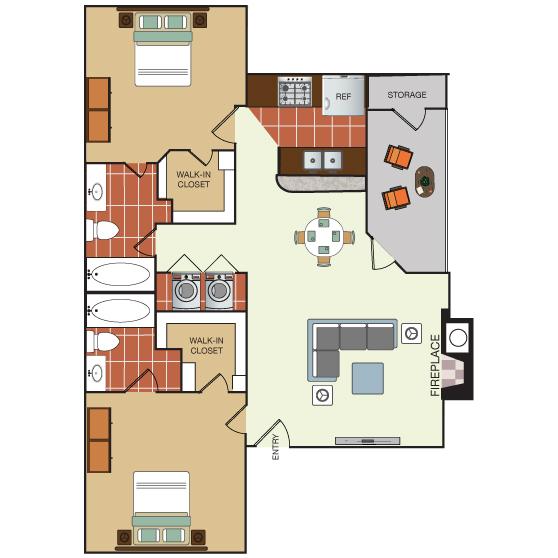913 sq. ft. 2E floor plan