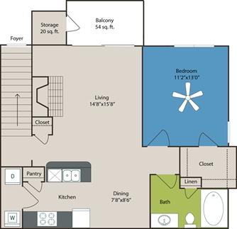 785 sq. ft. A2 floor plan