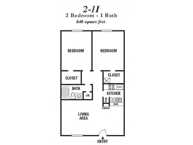 840 sq. ft. 21I/60% floor plan