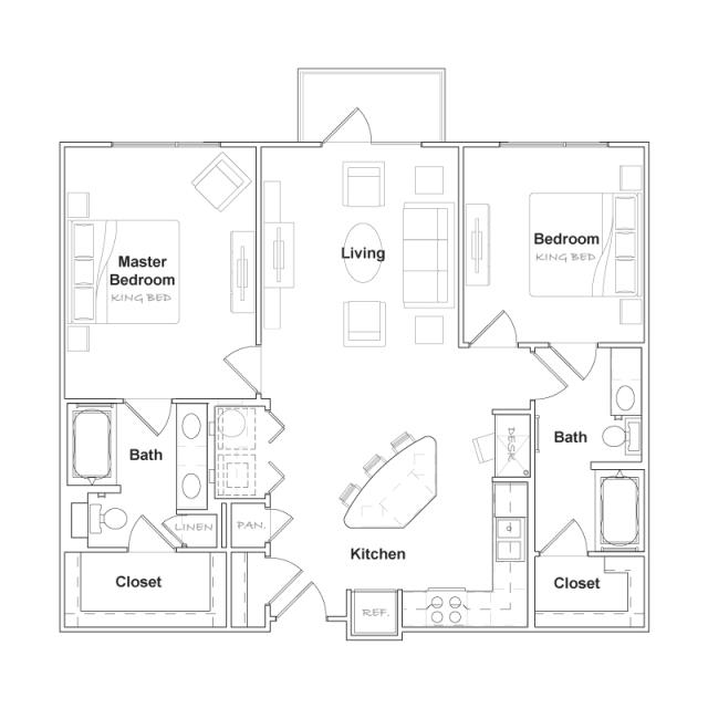 1,081 sq. ft. B1- floor plan