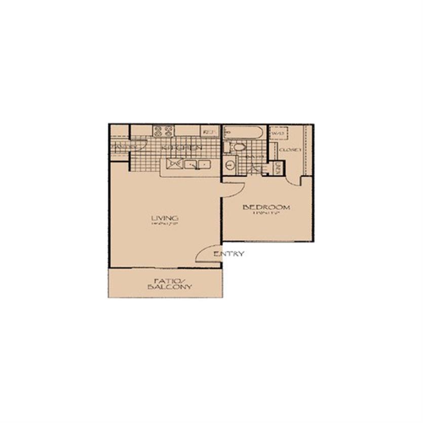 565 sq. ft. 1A.M floor plan