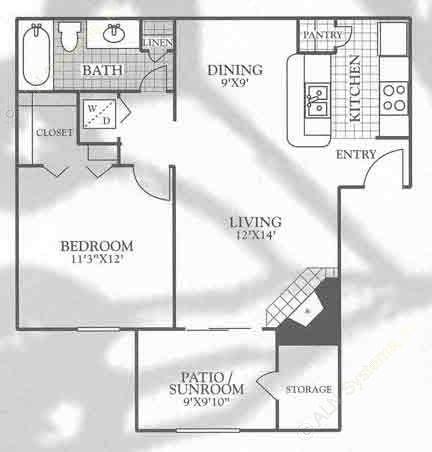 678 sq. ft. A2 floor plan