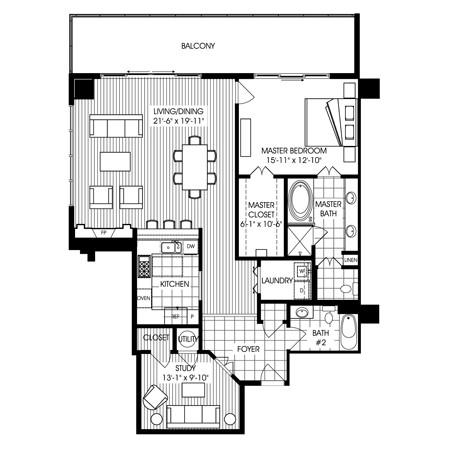 1,519 sq. ft. B4 floor plan