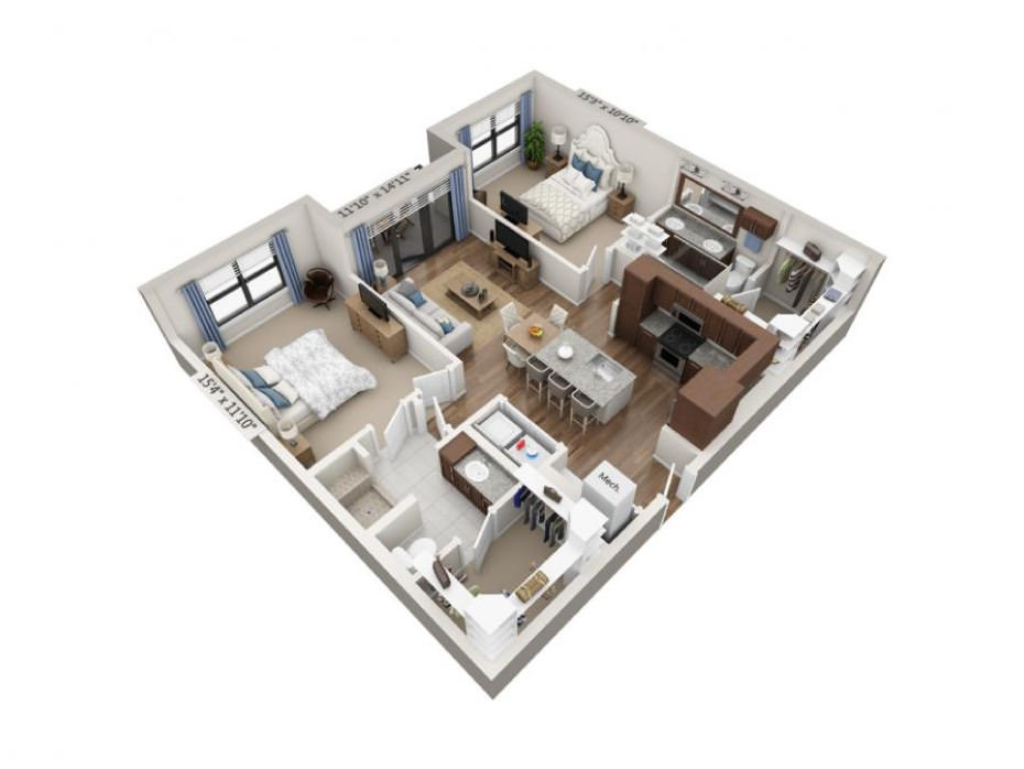 1,115 sq. ft. Exposition floor plan